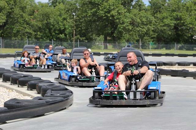 Go go-kart racing in Fun Spot America